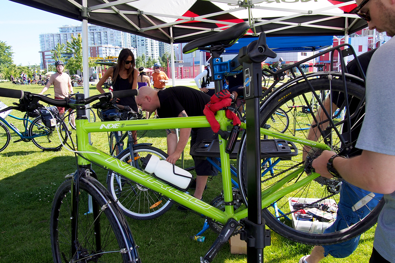 Norco Indie getting worked on at BTWW in Vancouver